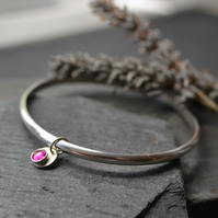 Sterling silver birthstone charm bangle - Ruby (July)