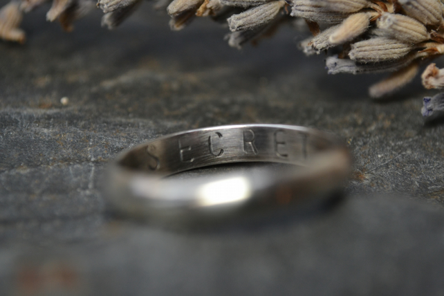 Personalised ring, sterling silver stamped ring