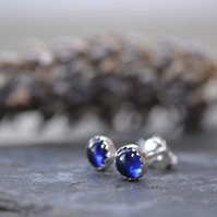 Sapphire and sterling silver handmade studs- September birthstone