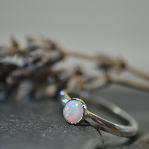 Opal stacking ring - October Birthstone