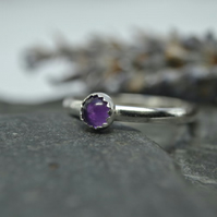 February birthstone- Amethyst  stacking ring