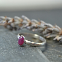 July Birthstone- Ruby Oval Stacking Ring