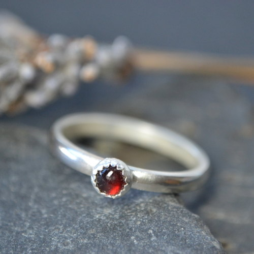 January birthstone- Garnet stacking ring