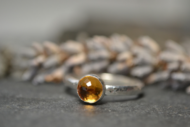 Citrine rose cut stone, and sterling silver ring - November birthstone