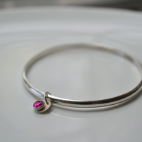 Birthstone charm bangle - Ruby (July)