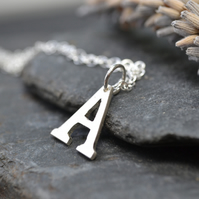 Initial, silver letter necklace