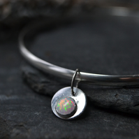 Birthstone charm bangle - Opal (October)
