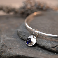 Birthstone charm bangle - Sapphire (September)