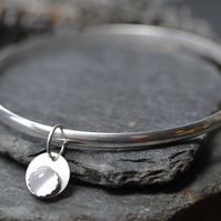 Birthstone charm bangle - Moonstone (alternative for June)