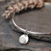 Birthstone charm bangle - Aquamarine (March)