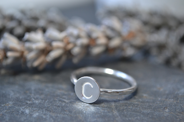 Personalised initial ring, sterling silver