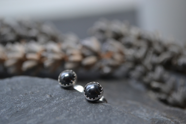 Black Dark Grey stud earrings - perfect gift