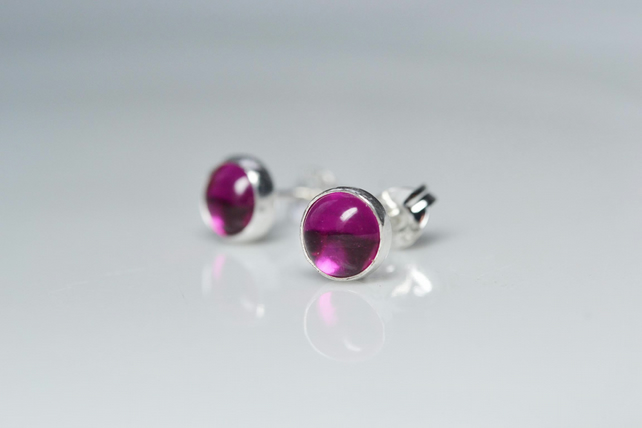 Ruby stud earrings, sterling silver. July birthstone