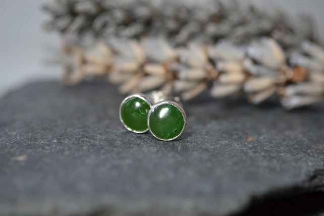 Jade stud earrings, sterling silver.