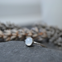 Gemstone sterling silver skinny ring