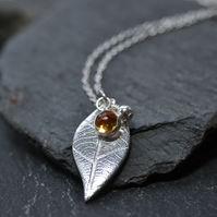 Silver leaf birthstone pendant necklace