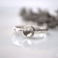 April (alt) birthstone - Sterling silver stacking ring with White Topaz
