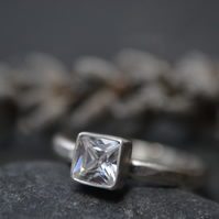 Square cz and sterling silver ring (alternative April Birthstone - diamond)