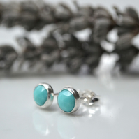 Rose cut turquoise and sterling silver studs