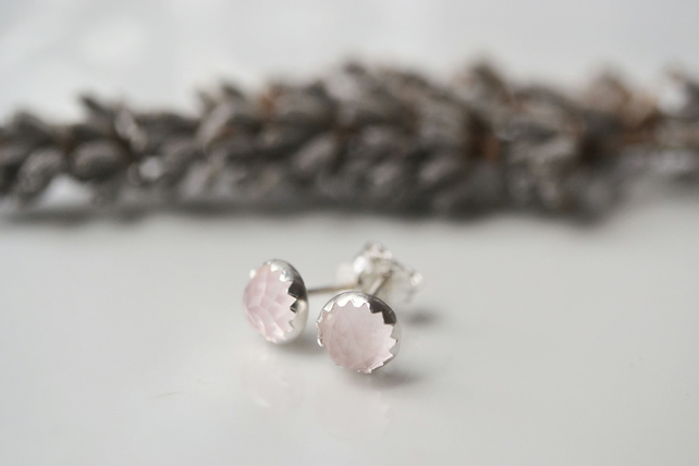 Rose cut, rose quartz, sterling silver stud earrings