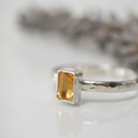 Citrine and sterling silver birthstone stacking ring