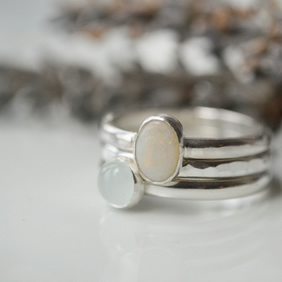 Stacking rings - opal and aquamarine
