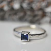 Square sapphire stacking ring - September birthstone