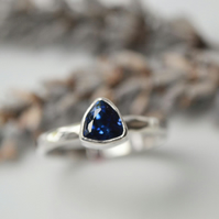 Sapphire trillion birthstone stacking ring