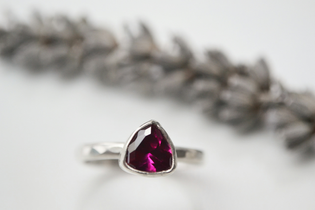 Ruby trillion sterling silver ring - July birthstone (eco silver)