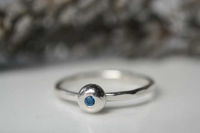 Bubble ring -  organic sterling silver gemstone stacking ring
