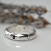 Flush set birthstone ring - Mothers ring