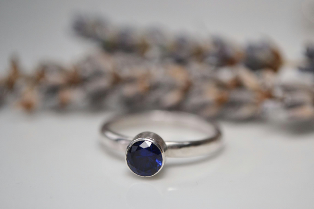 Sapphire sterling silver solitaire ring