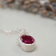 Ruby gemstone pendant necklace - July birthstone