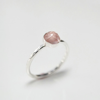 Rose quartz, sterling silver ring. Valentines