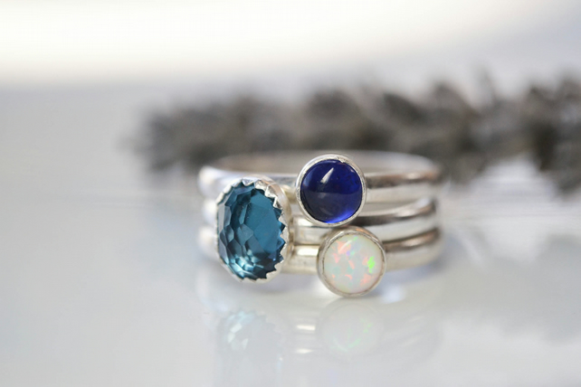 Sterling silver stacking gemstone rings