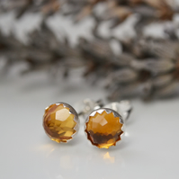 Citrine rose cut earrings