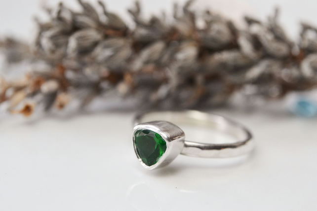 Emerald trillion birthstone stacking ring
