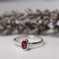 Ruby oval birthstone stacking ring - July birthstone