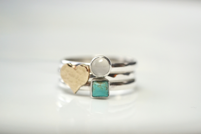 Gold heart ring stack