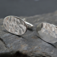 Oval sterling silver hammered cufflinks