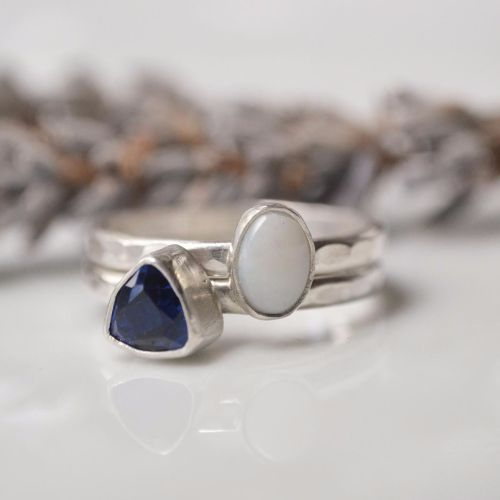 Oval opal sterling ring
