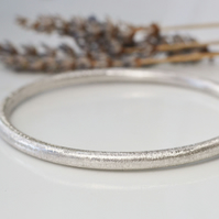 Sterling silver textured bangle