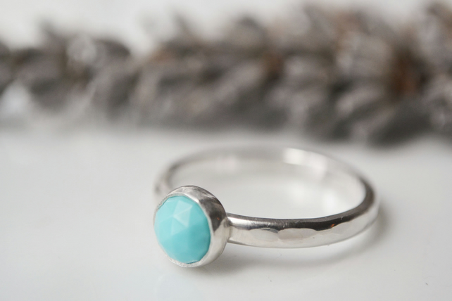 Rose cut turquoise, sterling silver ring
