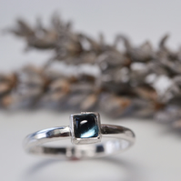 London blue topaz square cabochon ring