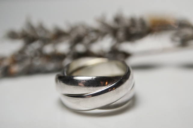 Chunky Sterling Silver Rolling Ring Russian W Folksy