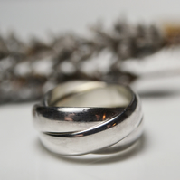 Chunky sterling silver rolling ring - russian wedding ring