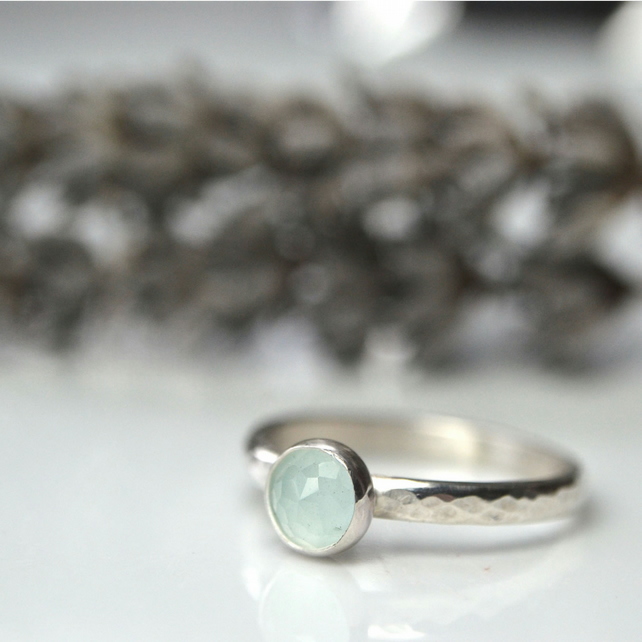 Milky aquamarine and sterling silver stacking ring