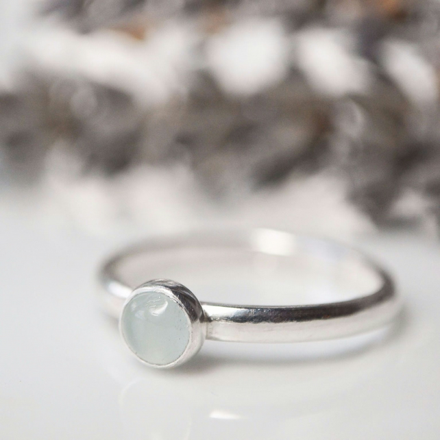 Milky aquamarine sterling silver stacking ring