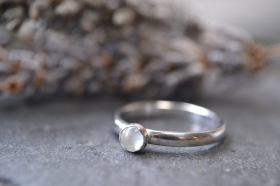 June Birthstone- Moonstone stacking ring
