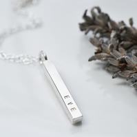 Sterling silver bar pendant - personalised